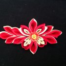 Kanzashi Flower, Ribbon Flower Clip, Red & Gold Flower Alligator Clip