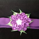 Kanzashi Ribbon Flower Headband, Purple Flower Headband, Girls Flower Heasband