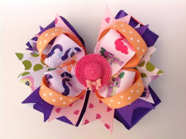 My Little Pony Stacked Hair Bow- Multiple Colors