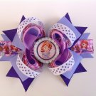 Purple Princess Sofia Stacked Hair Bow