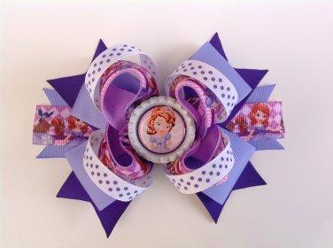 Purple Princess Sofia Stacked Hair Bow