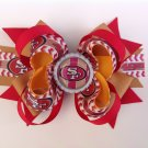 Red & Gold-SF-49ERS Stacked Hair Bow, Sport Stacked Hair Bow