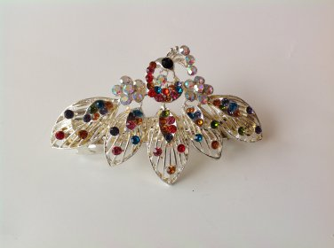 Peacock, Boutique Alloy Rhinestone Barrette
