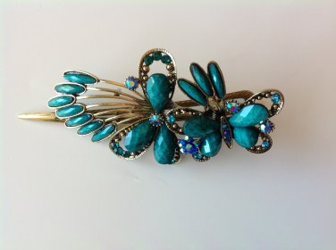 Butterfly Rhinestone Crystal Agate Bead Alloy Tiara