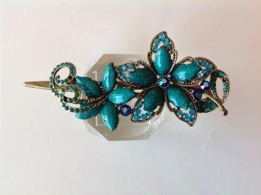 Blue Flower Rhinestone Crystal Agate Bead Alloy Tiara