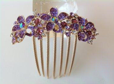 Purple Flower Boutique Alloy Rhinestone Comb