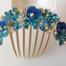 Blue Rose Flower Boutique Alloy Rhinestone Comb