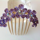 Purple Plum Flower Boutique Alloy Rhinestone Crystal Comb