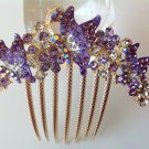 Purple Butterfly Boutique Alloy Rhinestone Crystal Comb