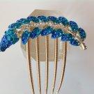 Blue Leaf Alloy Rhinestone Crystal Comb