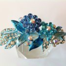 Blue Flower Alloy Rhinestone Crystal Barrette