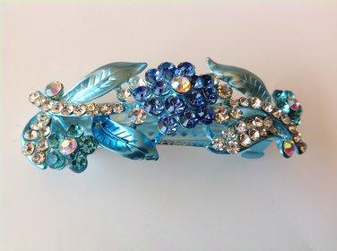 Blue Flower Boutique Alloy Rhinestone Crystal Barrette