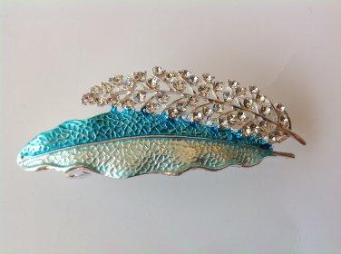 Blue Leaf Boutique Alloy Rhinestone Crystal Barrette