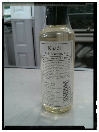 Khadi Herbal  Body Massage Oil With Saffron, Almond Oil & Olive Oil - 1 X 210 ML