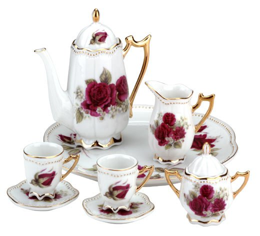 10-Piece Ceramic Red Rose Tea Set