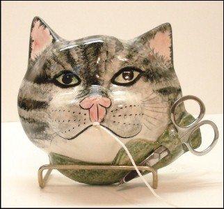 String Holder Grey Tiger Cat Stringholder - Made in England