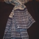 Vintage Symphony long blue and white Scarf