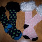 FAUX Black or White LAMB FUR Knee High Boot SOX for girls shoe size 9 - 2.5