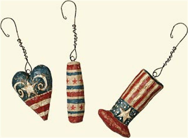 Set of 6 4th of July Mini Ornaments