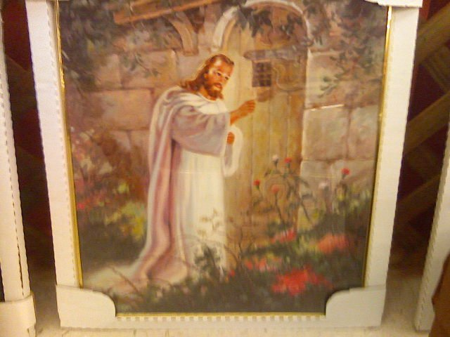 jesus Christ knocking on door poster-framed/with glass
