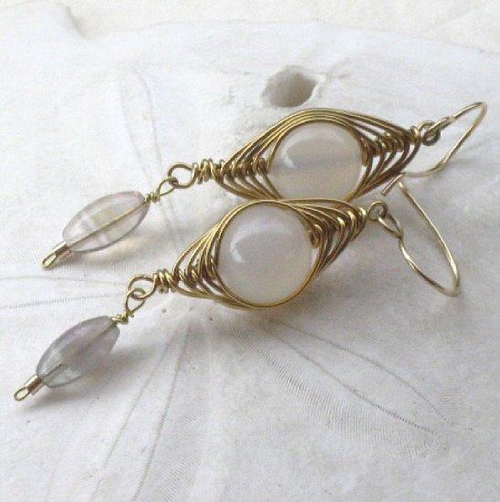 White Agate Herringbone Weave Earrings