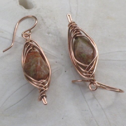 Rose Jasper Earrings in Copper