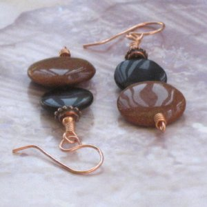 Brown Goldstone And Black Onyx Lentil Earrings