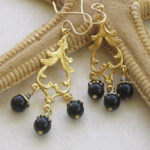 Gold Chandelier Spades with Black Onyx Earrings