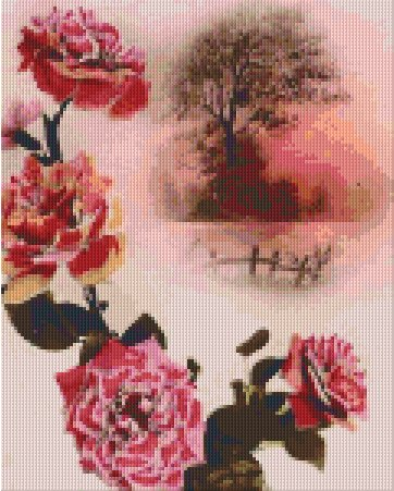 Flowers and Tree - 9BP - Pxelhobby Pattern DL-3 available