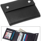 Mens Black Leather Wallet with ID Window and Security Snaps