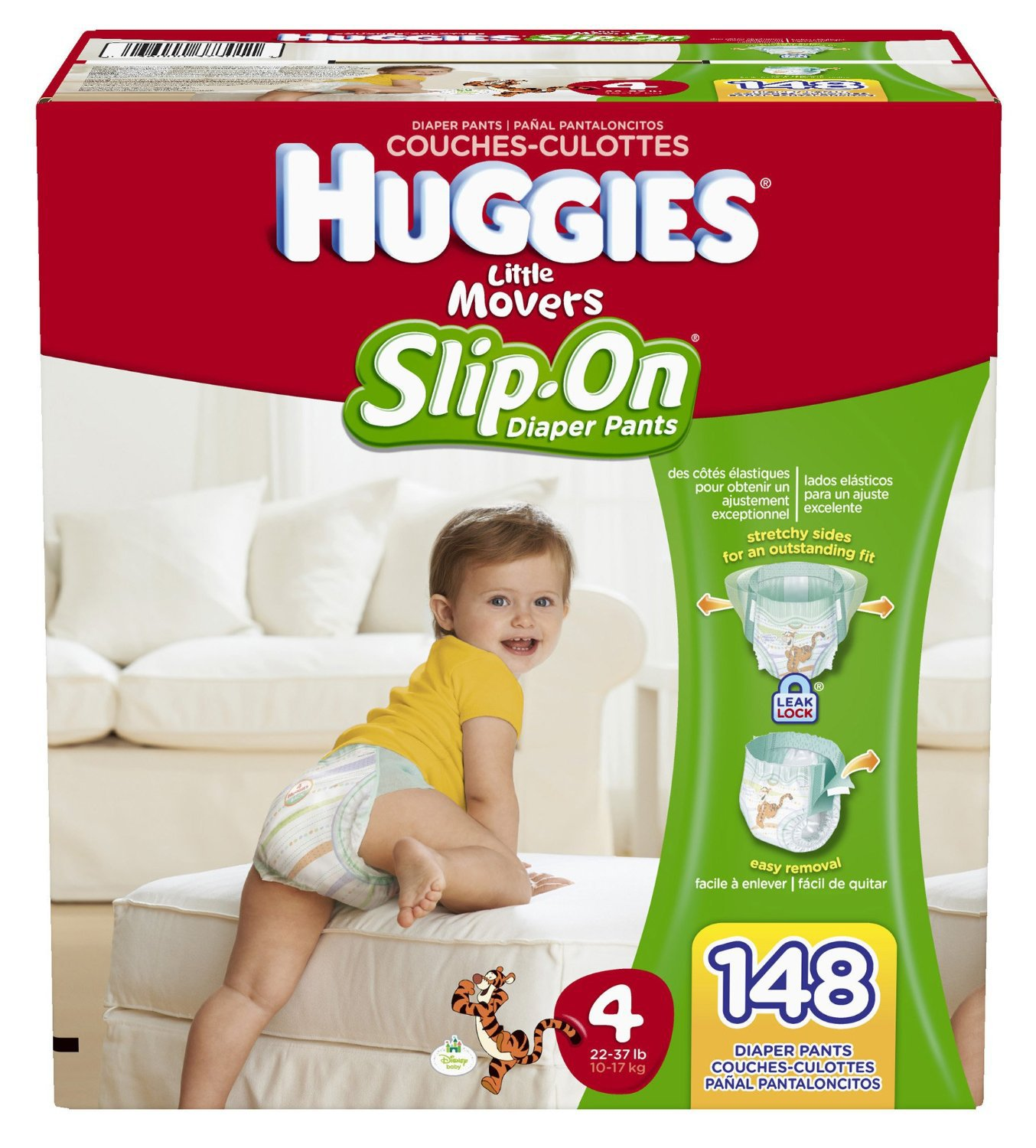 Huggies Little Movers Slip-On Diaper Pants, Size 4 - 148 Count ...