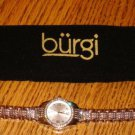 Burgi Silver Diamond Accent and Crystal Ladies Watch NEW!