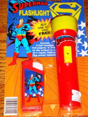 SUPERMAN FLASHLIGHT SET OF 2 SEALED ON CARD