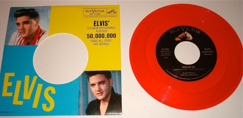 ELVIS STUCK ON YOU / FAME & FORTUNE PICTURE SLEEVE / RED COLORED VINYL 45 RPM
