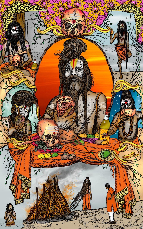 Aghori Sadhus Amaral Cartoons Poster