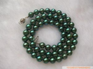 Sea Water Pearl Necklace 7-7.5 mm Peacock Blue