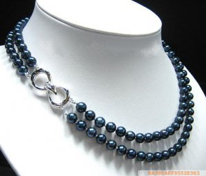 Sea Water Pearl Necklace 6-6.5 mm Blue with Cyan