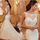 Free Shipping AN2196  Lace Bridal Wedding Mermaid Gown Prom Ball Evening Dress Size 6-20