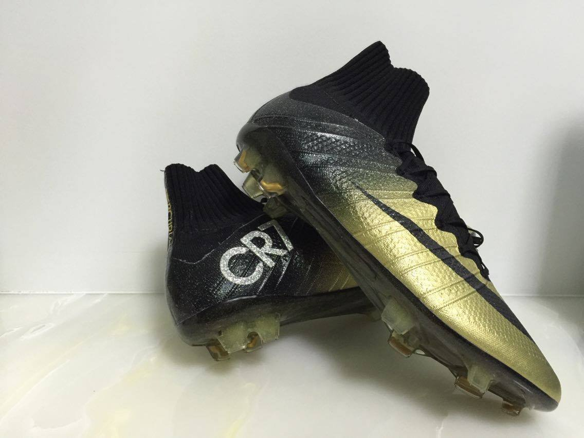 c20962344 SIZE 8 Free Shipping Nike CR7 mercurial High Cleats FG black gold all size  soccer shoes WITHOUT BOX