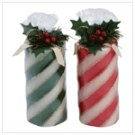 Candy Cane Pillar Candle Set