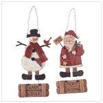Santa and Snowman Signs