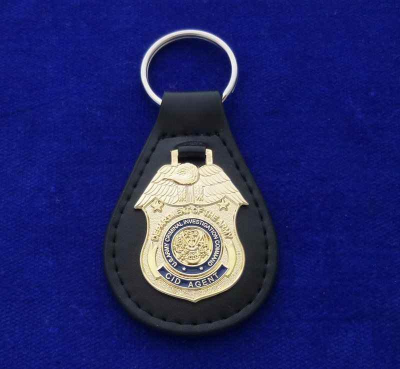 US Army CID Leather Key Ring FOB