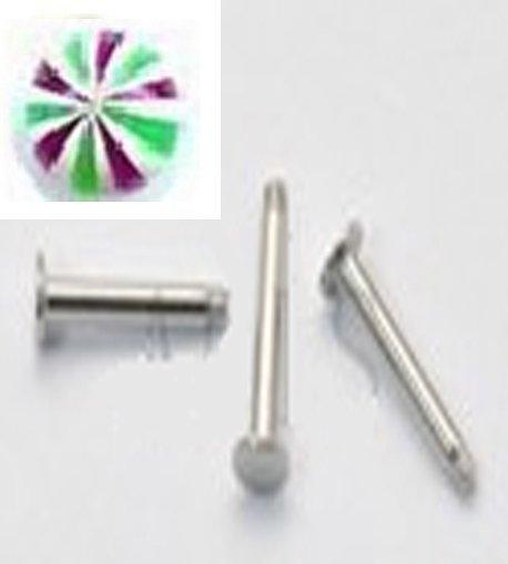 14g Stripe Green,Purple /S.S. Steel Labret