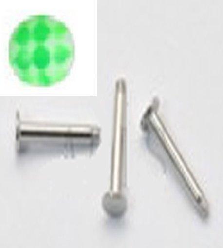 14g Soccer Ball Green/S.S. Steel Labret