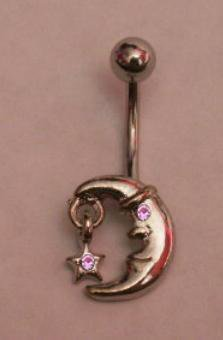 Moon & Star Belly Button Ring