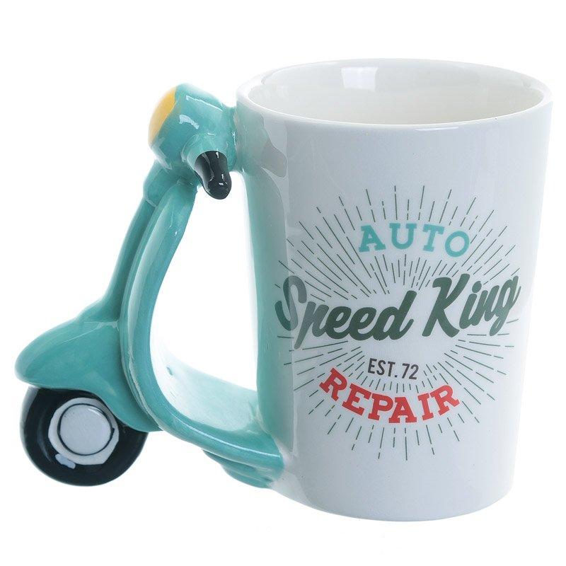 Fun Scooter Shaped Handle Ceramic Mug