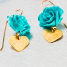 Turquoise Polimer Rose Earrings - Alice in Wonderland - Bridesmaid Jewelry - Gold Heart Earrings