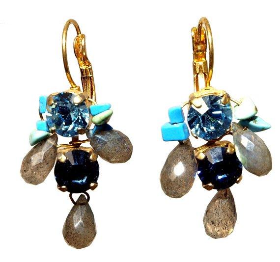 Swarovski Crystals and Labradorite Gemstone Earrings - Cocktail Earrings - Gemstone Jewelry