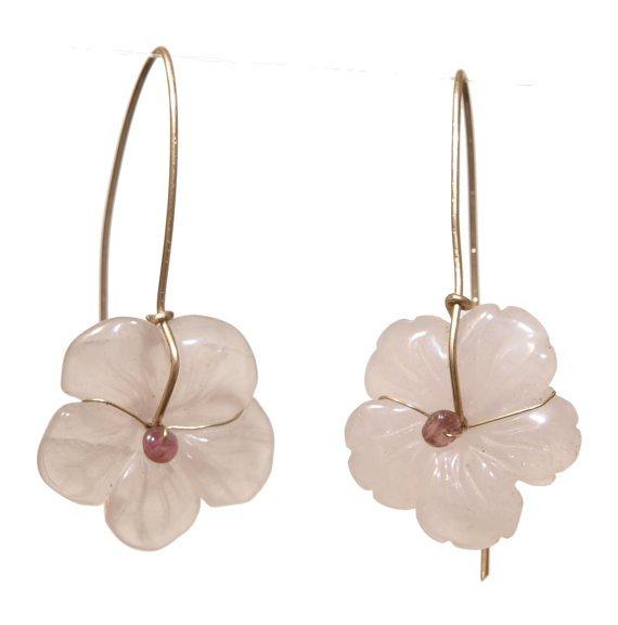 Beautiful Rose Quartz Flower Gold Filled Earrings - Romantic Jewelry