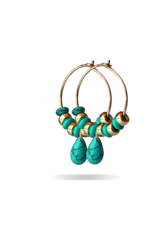 Beautiful Turquoise And Gold Beads - Hoop Earrings with and Gold Beads